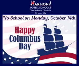 Flyer that says No School on Monday October 14th Happy Columbus Day! There is a banner with a american flag and a boat in blue