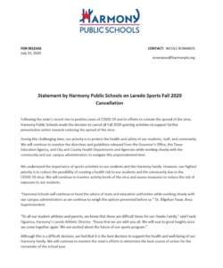 Statement by Harmony Public Schools on Laredo Sports Fall 2020 Cancellation