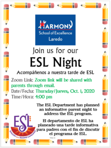 Join us for our ESL Night Acompáñenos a nuestra tarde de ESL