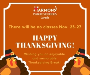 There will be no classes Nov. 23-27