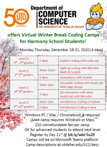 Univeristy of Texas at Dallas Department of Computer Science offers Virtual Winter Break Coding Camps for Harmony School Students! Monday-Thursday, December 28-31, 2020 (4 days)  Level 0: 1st - 2nd graders	2-3pm	Explore coding with code.org  Level 1: 3rd-5th graders	10am-12pm	Light up coding with Microbit Math & Scratch 	2-4pm	Animations with Scratch  Level 2: 6th-8th graders	10am-1pm	Enjoyable Coding with JavaScript Web page design 	2-5pm	3D animations with Alice JavaScript with Microbit Level 3: 9th-12th graders	10am-1pm	Introductory Coding in Python 	2-5pm	Introductory Coding in Java Windows PC / Mac / Chromebook is required (Alice camp requires Windows or Mac) $10 nonrefundable fee per camp OK for advanced students to attend next level Register by Dec 21st @ bit.ly/wbc-hs20 Camps will be on Microsoft Teams platform Camp descriptions at utdallas.edu/k12/desc