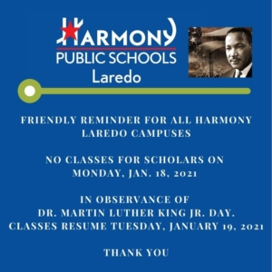 NO CLASSES FOR SCHOLARS ON MONDAY, JAN.  18, 2021